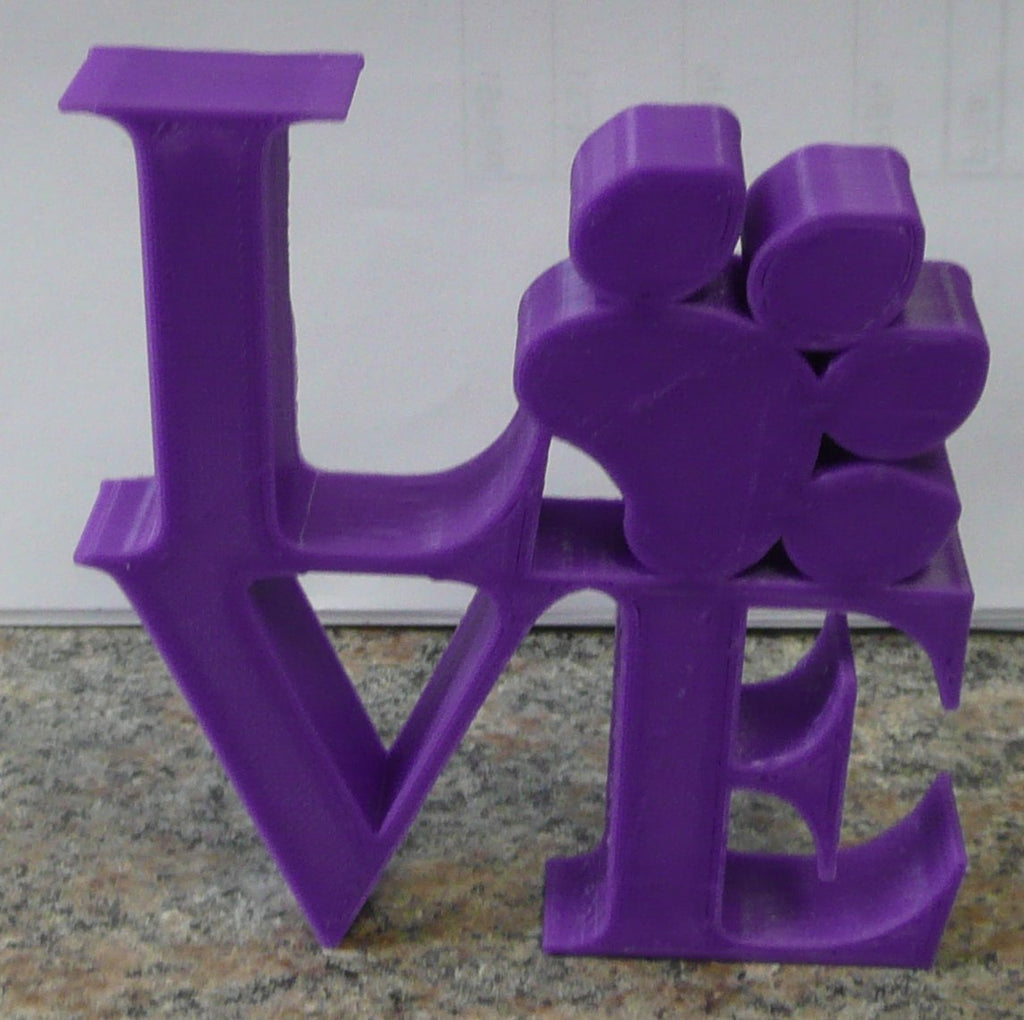 Love Sign with Paw Table Shelf Home and Office Decor 3D Printed Made in USA PR859