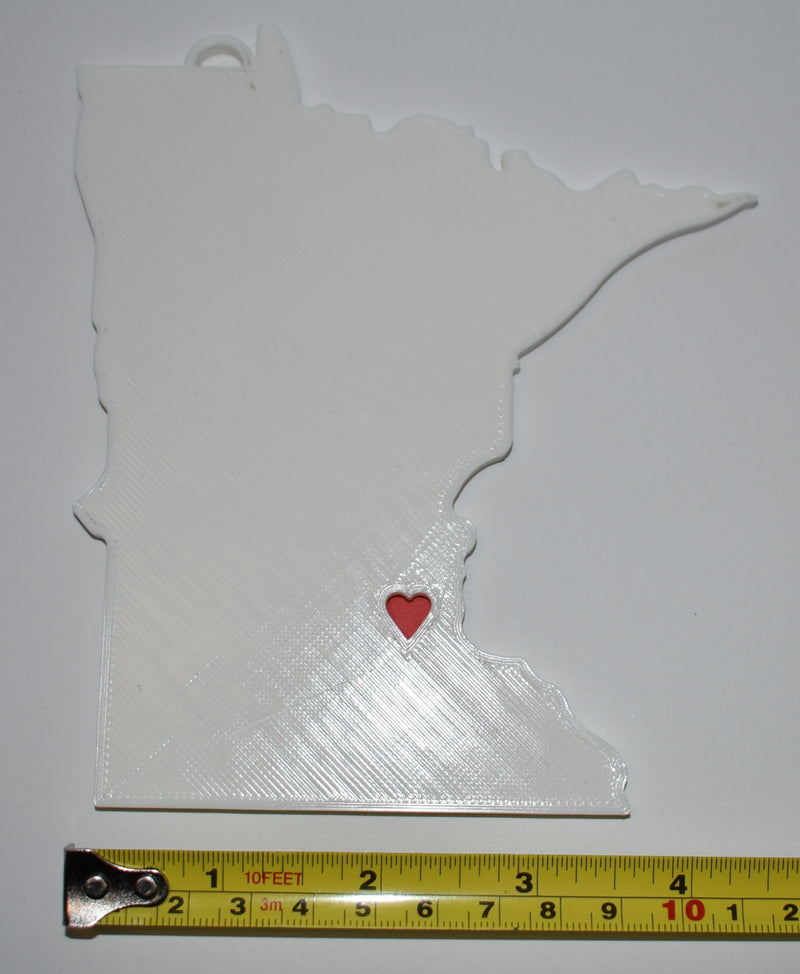 Minnesota State Outline Saint Paul Red Heart Cutout Hanging Ornament Holiday Christmas Decor Made In USA PR244-MN