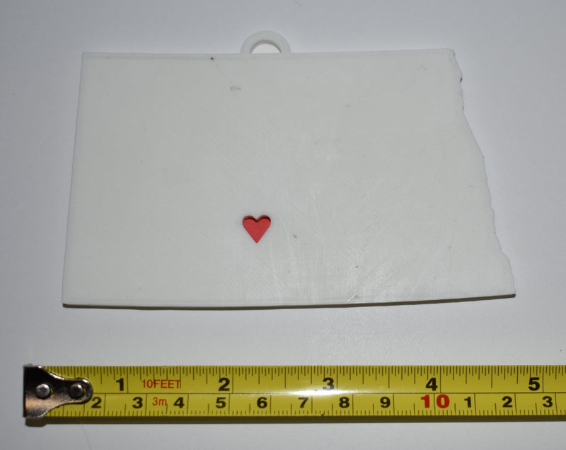 North Dakota State Outline Bismarck Red Heart Cutout Hanging Ornament Holiday Christmas Decor Made In USA PR244-ND