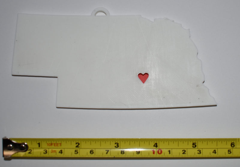 Nebraska State Outline Lincoln Red Heart Cutout Hanging Ornament Holiday Christmas Decor Made In USA PR244-NE