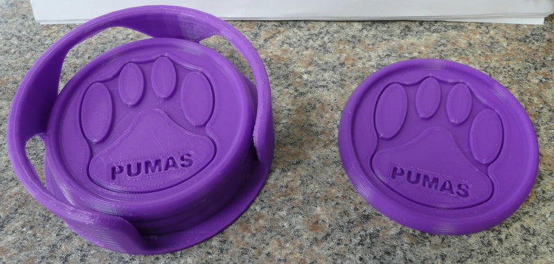Saint Joseph's College SJC Pumas Coasters and Coasters with Holders 3D Printed Made in USA PR860 PR861