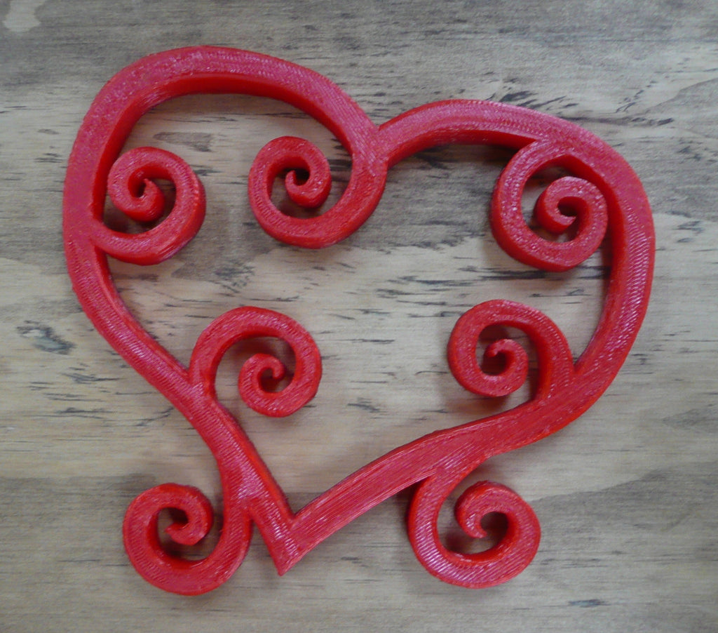 Valentine Heart Swirls Scrolls Stand Home Decor Valentine's Day 3D Printed Made in the USA PR234