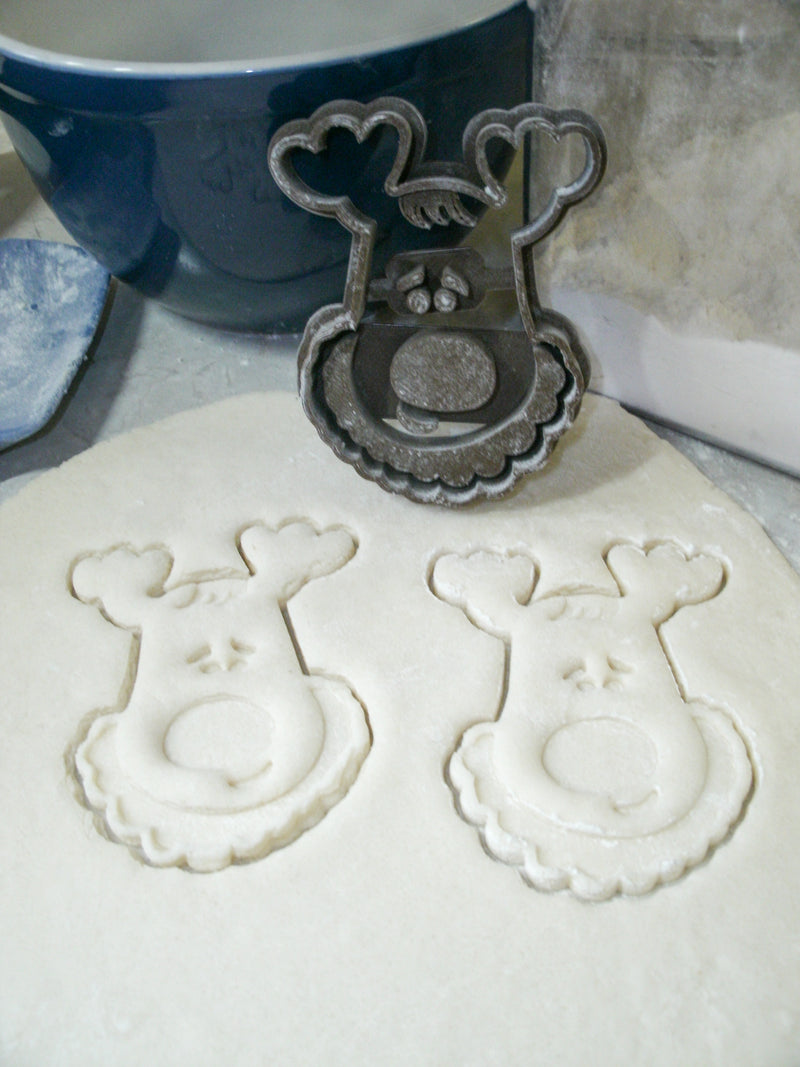 Reindeer Deer Head Kids Cartoon Animal Character Christmas Winter Season Special Occasion Cookie Cutter Baking Tool Made In USA PR121