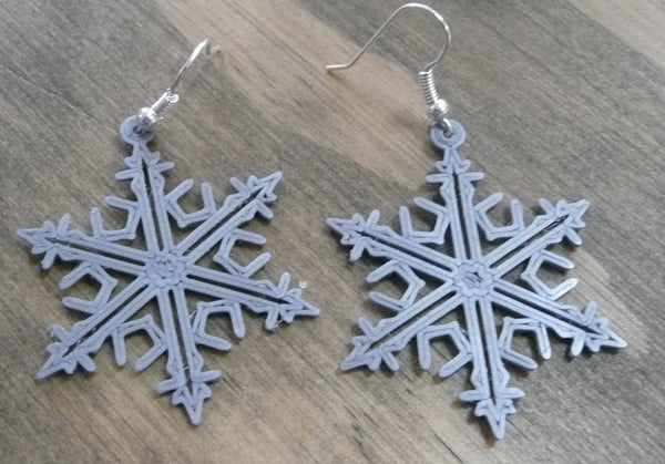 1 PAIR OF SNOWFLAKE CHRISTMAS EARRINGS JEWELRY 3D PRINTED MADE IN USA PR131