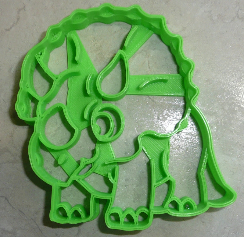 Triceratops 3 Three Horns Parrot Like Beak Large Frill Dinosaur Dino Jurassic Special Occasion Cookie Cutter Baking Tool Made In USA PR2338