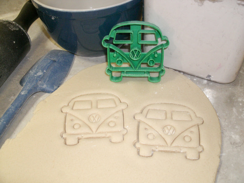 VW Van Bus Microbus Front View 1950s Vintage Vehicle Travel Camper Special Occasion Cookie Cutter Baking Tool Made In USA PR2161