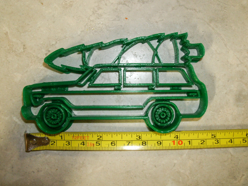 Vintage Classic Antique Wood Panel Station Wagon Woodie With Christmas Tree Special Occasion Cookie Cutter Baking Tool Made In USA PR2243