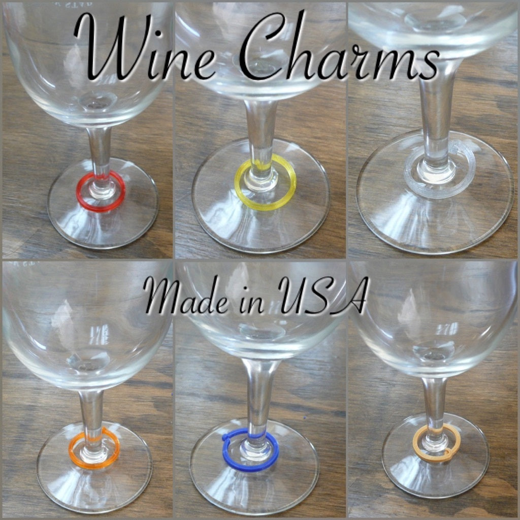 Wine Glass Charms Markers Tags Multiple Colors Wine Parties 3D Printed Made in USA PR133