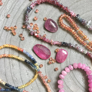 colorful sapphire beads and cabochons