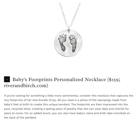 River and Birch Personalized Baby Footprints Necklace
