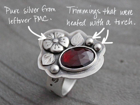 River and Birch Garnet Ring