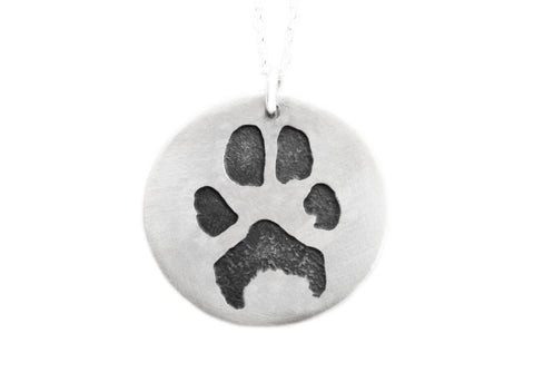 Customized Silver Paw Print Necklace