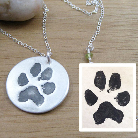 River and Birch Custom Paw Print Necklace with Stamped Print
