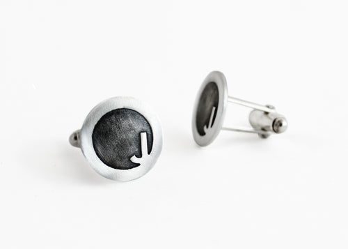 Sterling Silver Contemporary Initial Cuff Links