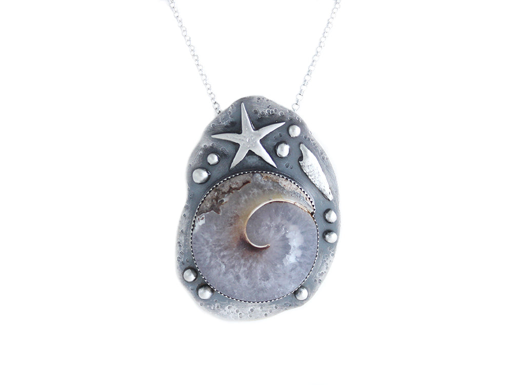 Fossilized Snail Shell Sterling Silver Statement Necklace