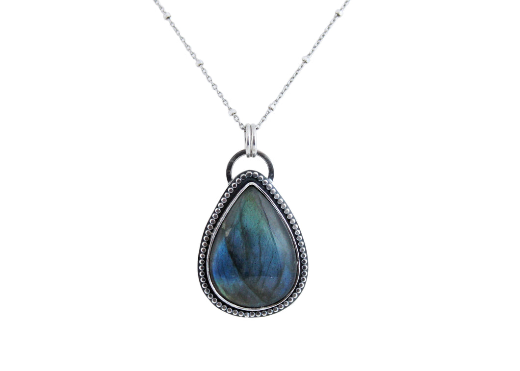 Silver Labradorite Teardrop Necklace