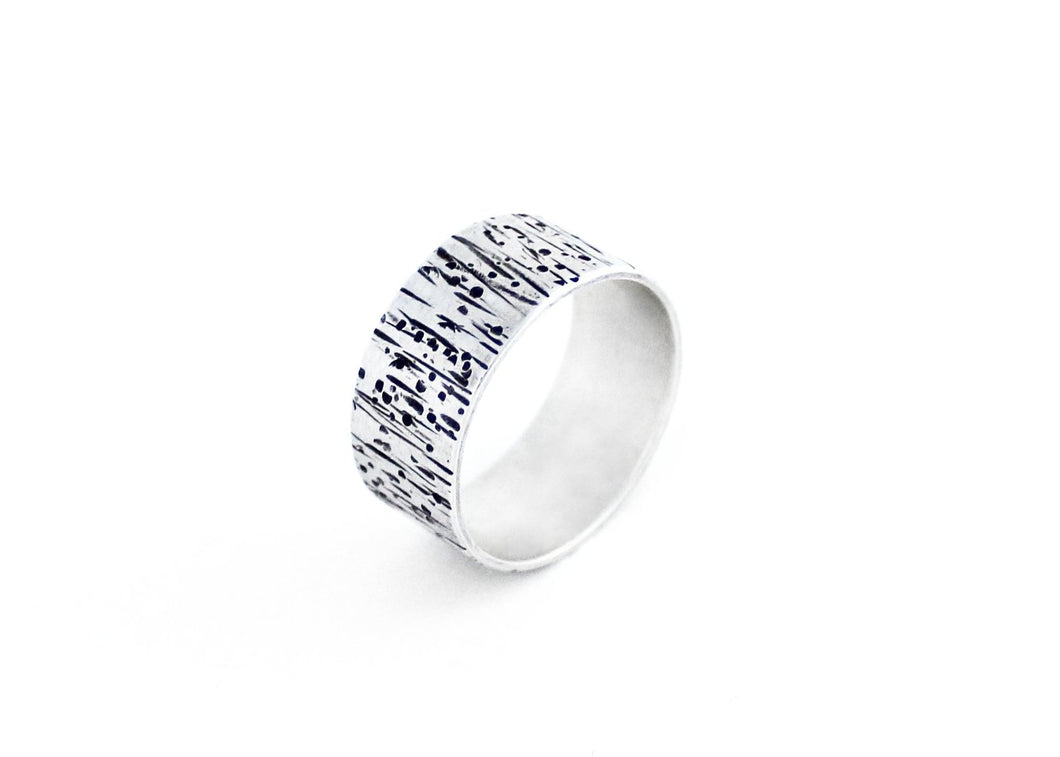 Tree Bark Sterling Silver Band Ring