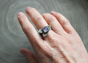 Purple Chalcedony Silver Leaf Ring
