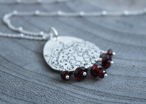 Garnet Recycled Silver Mandala Necklace
