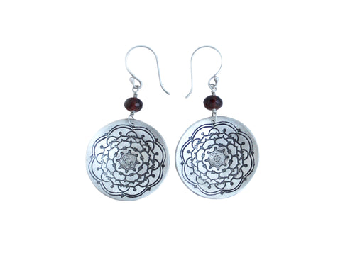 Garnet Silver Mandala Circle Earrings