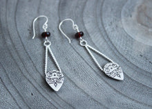 Long Garnet Silver Mandala Drop Earrings
