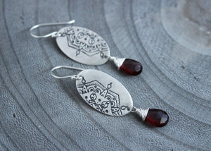 Garnet Silver Mandala Dangle Earrings