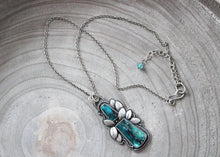 Gem Chrysocolla Silver Botanical Statement Pendant Necklace