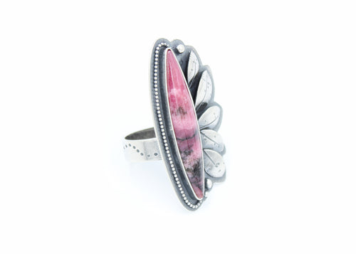 River and Birch gem rhodonite statement ring on white background