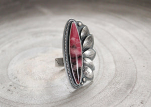 Gem Rhodonite Floral Silver Asymmetrical Statement Ring