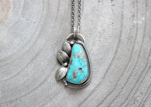 Kingman Turquoise With Pyrite Silver Floral Pendant Necklace