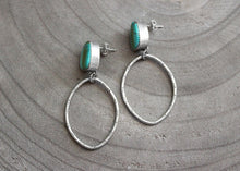 Kingman Turquoise Stamped Silver Oval Dangle Post Earrings