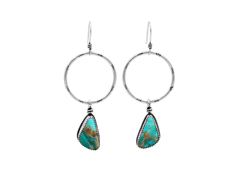 Kingman Turquoise Stamped Silver Hoop Dangle Earrings