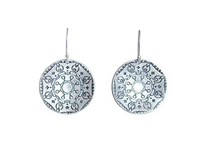 Silver Circle Mandala Earrings