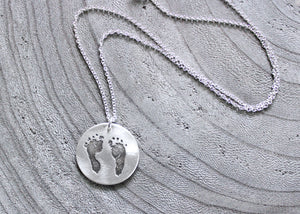 Personalized Baby Footprints Silver Necklace