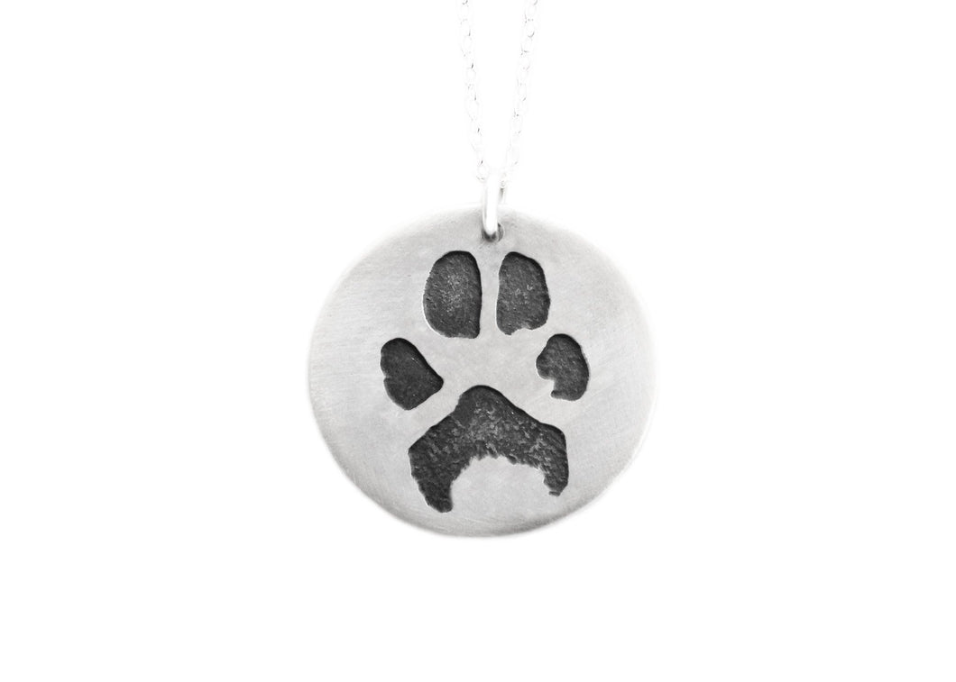 Custom Paw Print Recycled Silver Necklace