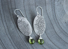Peridot Silver Mandala Dangle Earrings