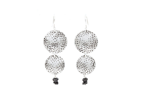 Raw Black Diamond Silver Circle Dangle  Earrings