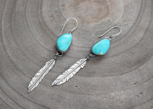 Kingman Turquoise Silver Feather Earrings
