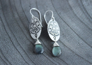 Labradorite Silver Mandala Earrings