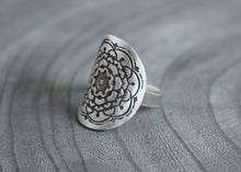 Silver Mandala Saddle Ring