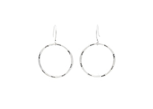 Handmade Stamped Sterling Silver Hoop Dangle Earrings