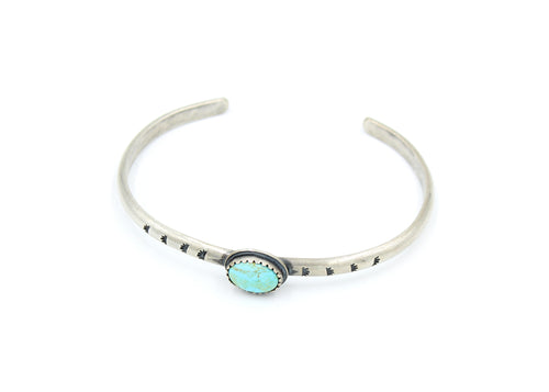 Turquoise Stamped Silver Stacking Cuff Bracelet