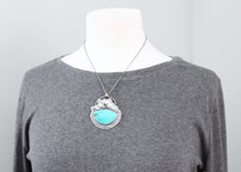 Kingman Turquoise Botanical Theme Silver Statement Pendant Necklace