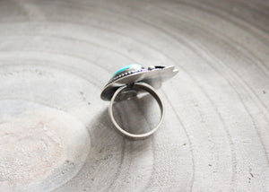 Kingman Turquoise Silver Floral Asymmetrical Cocktail Ring