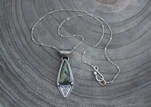 Green Labradorite OOAK Silver Necklace