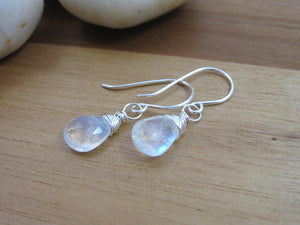 Rainbow Moonstone Sterling Silver Dangle Earrings