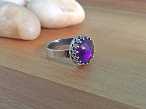 Gothic Style Sterling Silver Amethyst Ring