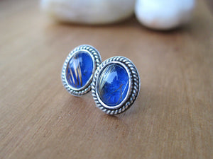 Golden Rutile Quartz Over Lapis Sterling Silver Stud Earrings