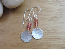 Orange Sapphire Recycled Silver Dangle Earrings
