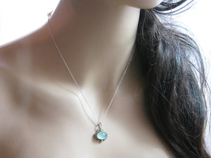 Aqua Chalcedony Sterling Silver Necklace